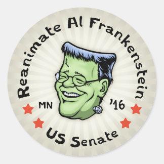 Reanimate el Al Frankenstein Pegatina Redonda