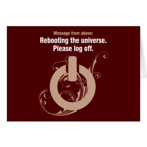 Reanudación del universo. Termine una sesión por f Tarjeton