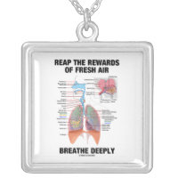 Reap The Rewards Of Fresh Air Breathe Deeply Square Pendant Necklace
