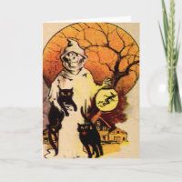 Reaper Black Cat (Vintage Halloween Card) Card