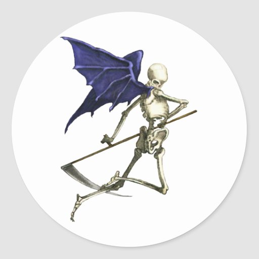 Reaper on Dark Wings of Death Classic Round Sticker