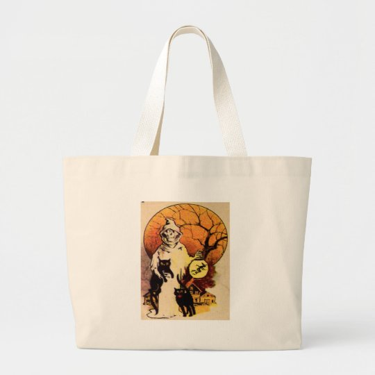 Reaper (Vintage Halloween Card) Large Tote Bag