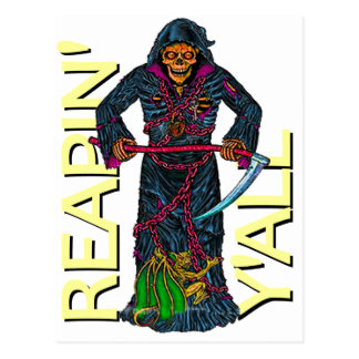 Reapin usted esqueleto con túnica tarjeta postal