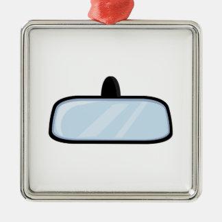Rear View Mirror Square Metal Christmas Ornament