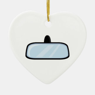 Rear View Mirror Double-Sided Heart Ceramic Christmas Ornament
