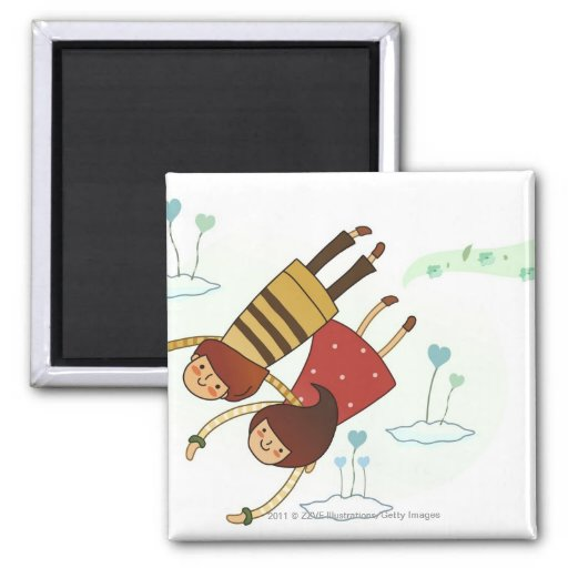 Rear view of a couple flying together 2 inch square magnet