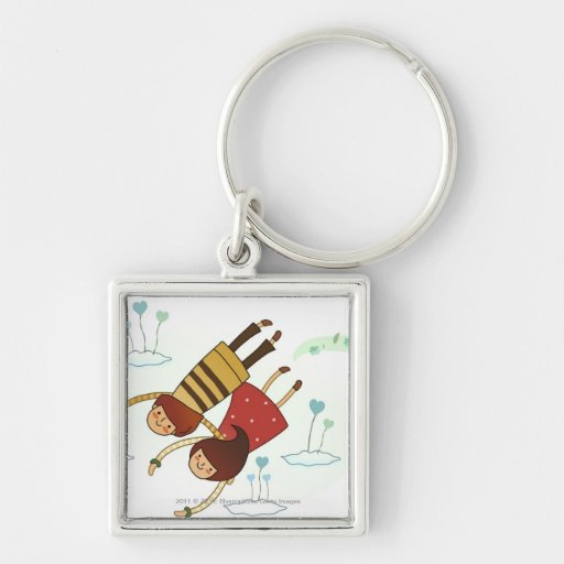 Rear view of a couple flying together Silver-Colored square keychain