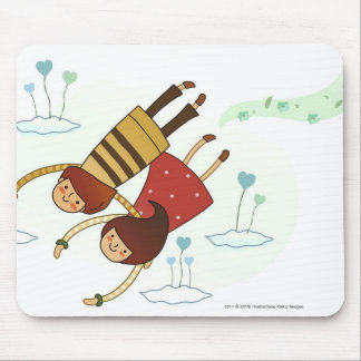 Rear view of a couple flying together mouse pad