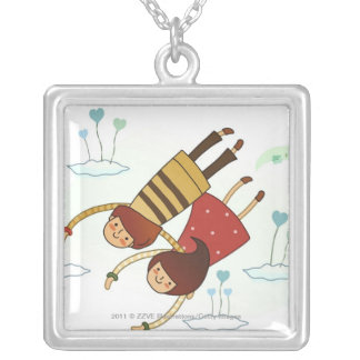 Rear view of a couple flying together custom jewelry