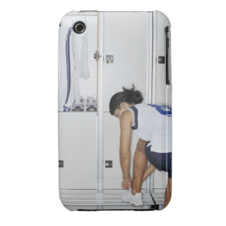Rear View of a Female Volleyball Player Tying iPhone 3 Cover