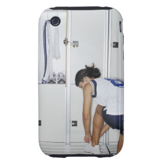 Rear View of a Female Volleyball Player Tying iPhone 3 Tough Cover