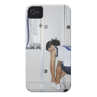 Rear View of a Female Volleyball Player Tying iPhone 4 Case