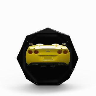 Rear View of a yellow custom corvette Award