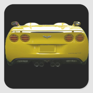 Rear View of a yellow custom corvette Square Sticker