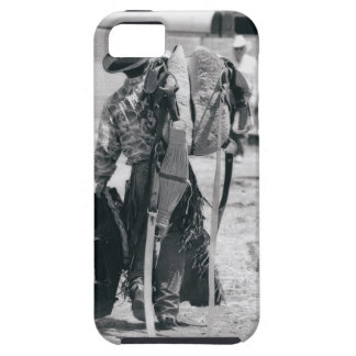 Rear view of cowboy hauling gear iPhone SE/5/5s case