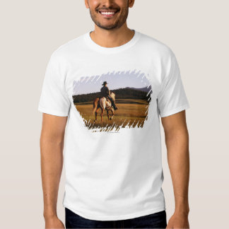 Rear view of cowboy riding horse tees
