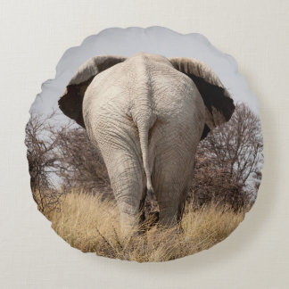 Rear view of elephant round pillow