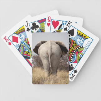 Rear view of elephant bicycle playing cards
