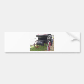 Rear view of old-fashioned horse carriage on green bumper sticker