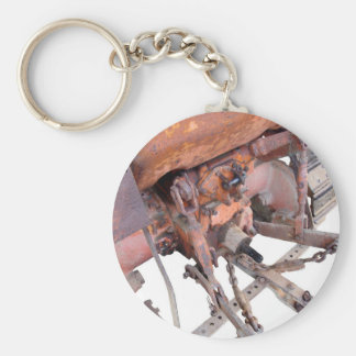 Rear view of old italian crawler tractor basic round button keychain