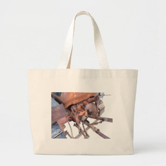 Rear view of old italian crawler tractor large tote bag