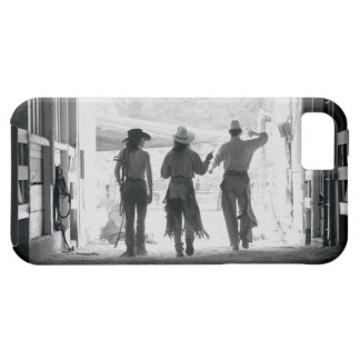 Rear view of three ranch hands leaving stable iPhone SE/5/5s case