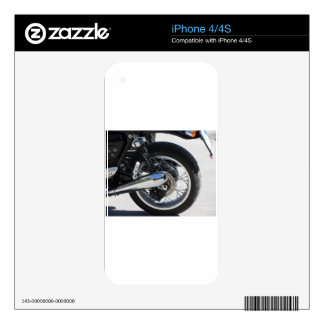 Rear wheel and chromed exhaust pipe of motorcycle iPhone 4 decal