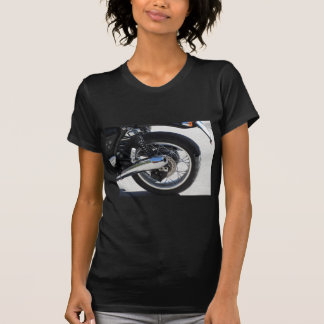 Rear wheel and chromed exhaust pipe of motorcycle T-Shirt