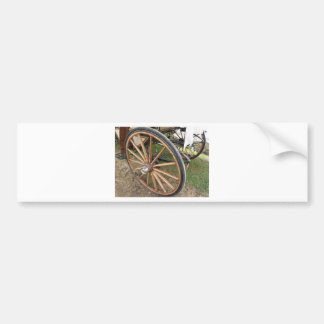 Rear wheels of old-fashioned horse carriage bumper sticker