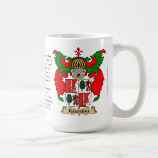 Reardon, the Origin, the Meaning and the Crest Coffee Mug