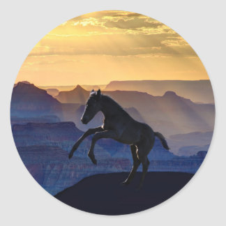 Rearing baby horse and canyons classic round sticker