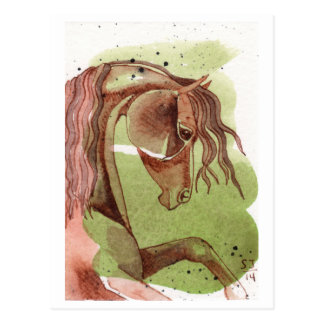 Rearing Bay Horse On Serpentine Green Watercolor Postcard