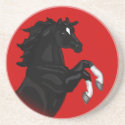 Rearing Black Horse Coaster