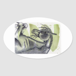 Rearing Black Horse Serpentine Watercolor Wash Oval Sticker