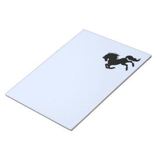 Rearing Black Stallion / Horse Blue Notepad