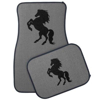 Rearing Black Stallion / Horse Car Mat