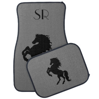 Rearing Black Stallion / Horse Monogram Car Mat