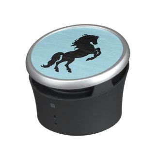 Rearing Black Stallion / Horse on Blue Bluetooth Speaker