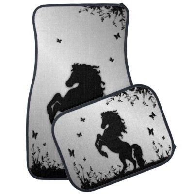 Rearing Black Stallion / Horse on Silver Car Floor Mat