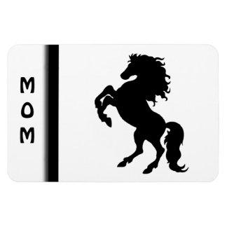 Rearing Black Stallion / Horse on White Rectangular Photo Magnet