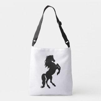 Rearing Black Stallion / Horse on White Tote Bag