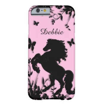 Rearing Black Stallion / Horse Personalized Barely There iPhone 6 Case