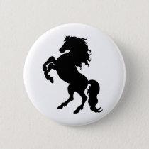 Rearing Black Stallion / Horse Pinback Button