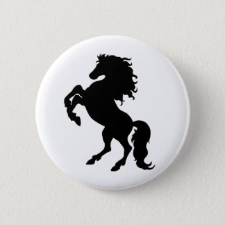 Rearing Black Stallion / Horse Pinback Button