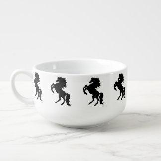 Rearing Black Stallion / Horse Soup Mug