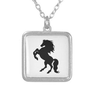 Rearing Black Stallion / Horse Square Pendant Necklace