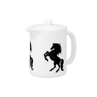 Rearing Black Stallion / Horse Teapot