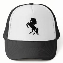 Rearing Black Stallion / Horse Trucker Hat