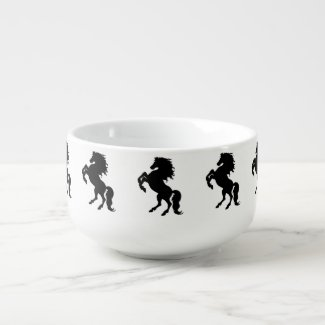 Rearing Black Stallion / Horse Soup Bowl With Handle