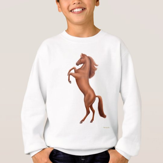 Rearing Chestnut Horse Kids Sweatshirt
